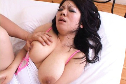 Japanese AV Model with nude immense boobs has hairy slit licked