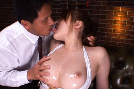 Momoka nishina. Momoka Nishina Asian has big boobs fondled with oil and rubs clit