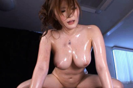 Momoka nishina. Momoka Nishina with huge oiled tits suc cocks and gets doggy