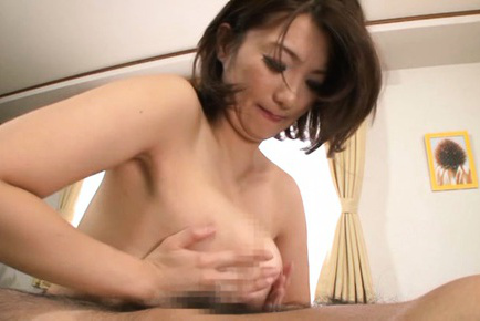 Mio takahashi. Mio Takahashi Asian rubs her nasty tits with penis she strokes