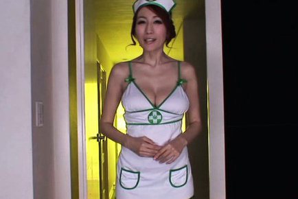 Julia. JULIA Asian nurse with large cans strokes rough penis and