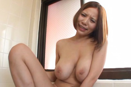 Ruri saijo. Ruri Saijo Asian with huge boobs fucks hairy slit with oil bottle