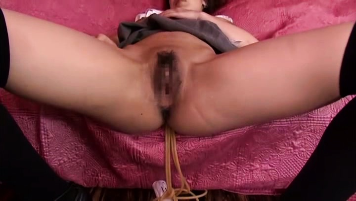 Riai sakuragi. Riai Sakuragi Asian in long socks shows hairy cunt for frigging
